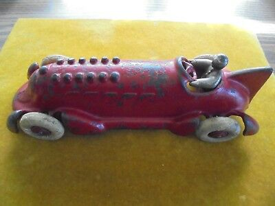 Vintage Cast Iron 1930's Hubley Toy Race Car & Driver-Classic Arcade Type-Old