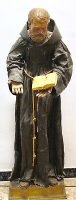 """""""San Antonio"""" large size with glass eyes - Polychrome wood - 17th 18th century"""