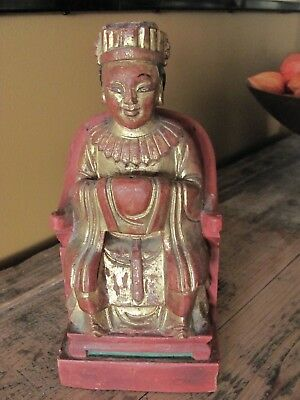 Antique Thai Carved Wood Painted Figure Southeast Asia Buddhist Gold Gilt