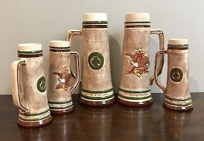 Original Anheuser Busch Safety Achievement Employee Beer Mug Stein Collection x5