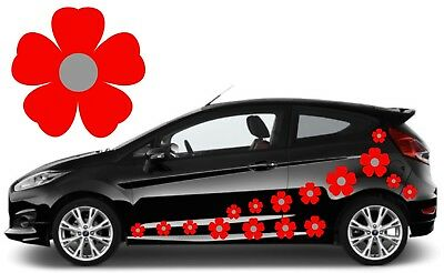 32 Red & Silver Flower Car Decals,stickers,car Graphics,daisy Stickers