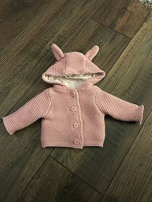 Baby Girl Pink Bunny Rabbit Cardigan - Tiny Baby size