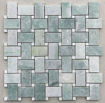 "1"" X 2"" Ming Green Marble Basketweave with White Dot Polished"