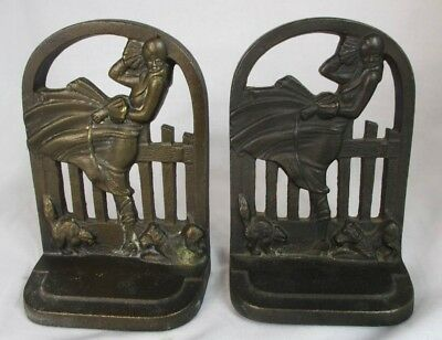 Antique 1920's Art Deco Cast Iron March Girl Bookends No. 601 With Acorn Logo