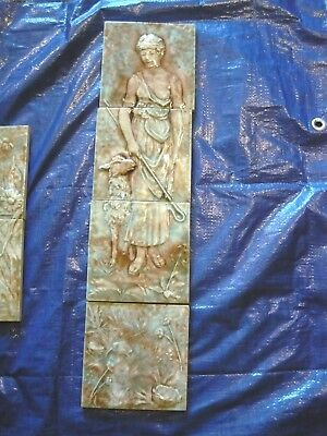 Antique Trent Tile Victorian Shepherdess  4 Pc 24""