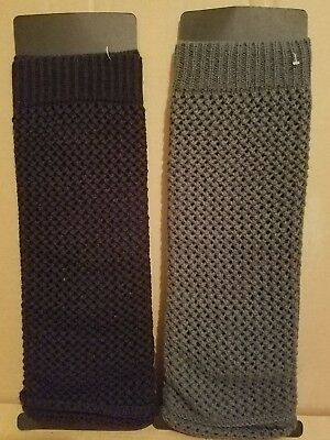 New Lot of 2 Pairs Women's Black & Gray Loose Knit Crochet Leg Warmers