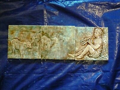 Antique Trent Tile Victorian Image Of Shepherd Boy Playing Flute 3 Pc 18""