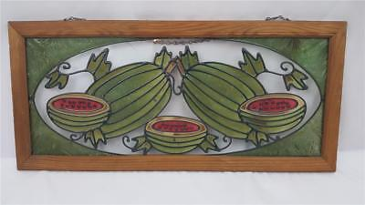 Lovely Stained Glass Window Watermelons In Wood Frame