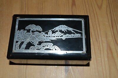 Laquer Box With Silver Inlay