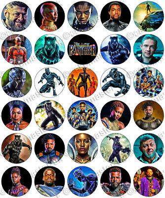 30 x Black Panther Marvel Avengers Party Edible Rice Wafer Paper Cupcake Toppers