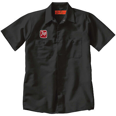 7 UP Custom Delivery Man WORK SHIRT w/ Vintage Embroidered Patch Soda Pop Cola