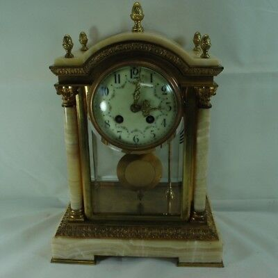 French Crystal Regulator of Dore Bronze and Marble