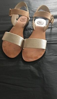 Sandal Size 40 Leather Natural/silver