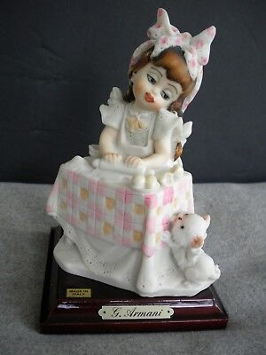 Vintg 1987 Florence Giuseppe Armani GIRL ROLLING DOUGH W CAT Porcelain Figurine