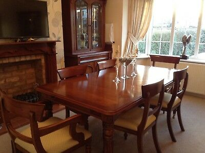 Solid mahogany extendable dining table & chairs, display cabinets and sideboard