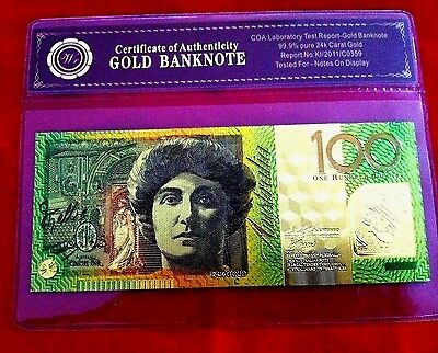 24kt GOLD $100 BANKNOTE AUSTRALIA COLOUR BANK  NOTE POLYMER $100 FREE COA FOLDER
