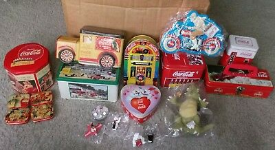 LOT OF 9  COCA-COLA  ADVERTISING TINS  + Collectable extras