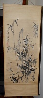 Chinese Scroll Painting Bamboo And Rocks Signed