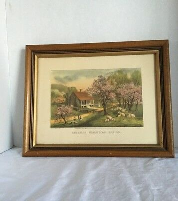 Vintage Wood Picture Frame With Currier And Ives Print American Homestead Spring