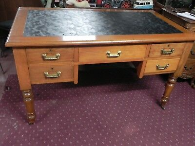 Edwardian Pine Desk with PU leather top insert