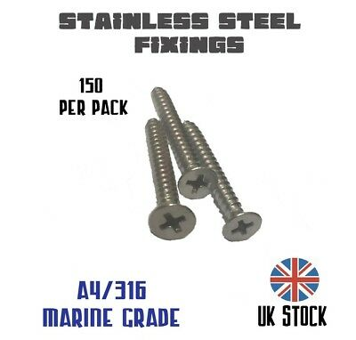 Stainless Steel A4 316 Marine Grade Pozi Self Tapping Countersunk Screw Fixings
