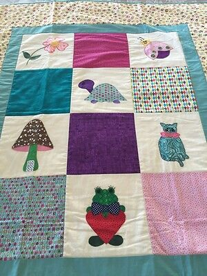 "Handmade patchwork quilt ' little animals' With Appliqué Size 42"" X 49"""