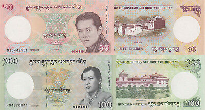 Bhutan 2 Note Set: 50 & 100 Ngultrum (2013) - p31b & p32b