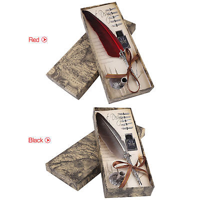 Feather Writing Fountain Caligraphy Dip Pen Quill with ink 5 Nibs Box Set Gift
