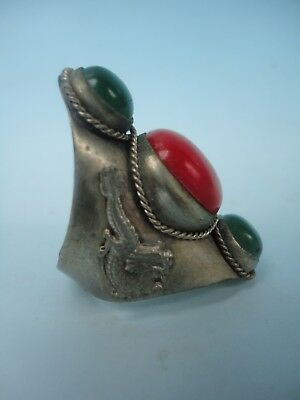 Collect Ancient China Tibet Silver Dragon Phoenix Inlaid Jewelry Ring Decoration