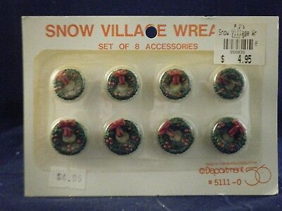 "Department 56 Accessory ""Snow Village Wreaths "" set of 8   #5111-0  Rare"