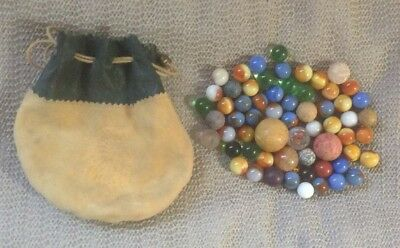 Antique Vintage Marbles with Chief Leather Bag