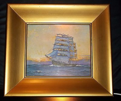 Leslie A Wilcox Framed Shadow Box Clipper Ship Lighted Picture 1950's