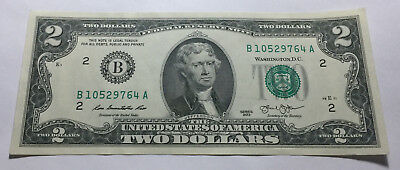 United States 2013 Two Dollars Note - Serial # B10529764A