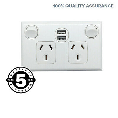 USB Fast Charge Double Power Point DOUBLE POLE For Caravan RV SUPER FAST 2.1A 5v