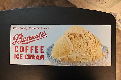 NOS Coffee Ice Cream Bennett's Creamery Ottawa KS Kansas Poster Vintage Original