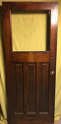 UNIQUE ANTIQUE Craftsman WOOD DOOR EXTERIOR 32x79 ARCHITECTURAL SALVAGE