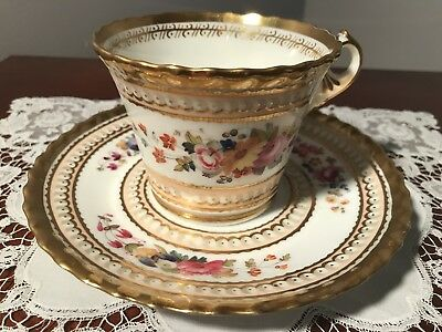 Antique Worcester Chamberlain Hand Painted Cup And Saucer With Fan Handle