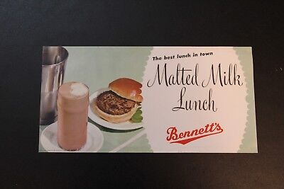 Malted Milk Lunch Bennett's Creamery Ottawa KS Kansas Poster Hamburger Shake