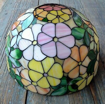 "Beautiful Tiffany Style Stained Leaded Slag Glass Floral Lamp Shade 12"", Mint"