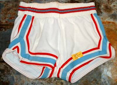 Vintage Spanjan knitted  basketball shorts  with piping v cut sides small