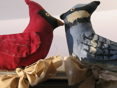 Primitive Folk Art Handcrafted Hand Painted Birds / Blue Jay & Cardinal
