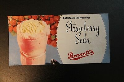 Strawberry Soda Ice Cream Bennett's Creamery Ottawa KS Kansas Poster Vintage !!