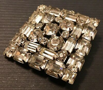 Huge Weiss Square Tiered Brooch! Clear Rhinestones! Nice!