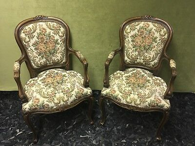 Pair Country French Louis XV CHATEAU D' AX ITALY Tapestry Accent Arm Side Chairs