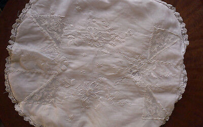 Antique Boudoir PILLOW Cover Embroidery & Lace