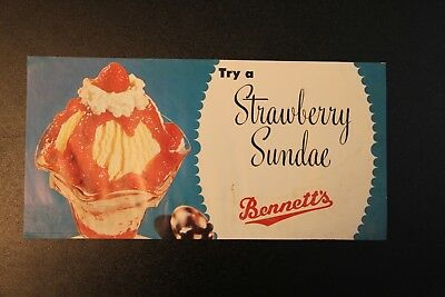 Strawberry Sundae Ice Cream Bennett's Creamery Ottawa KS Kansas Poster Vintage