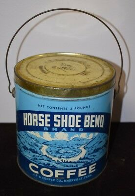 Rare Horse Shoe Bend Coffee Tin Pail Knoxville, Tennessee No Reserve!!