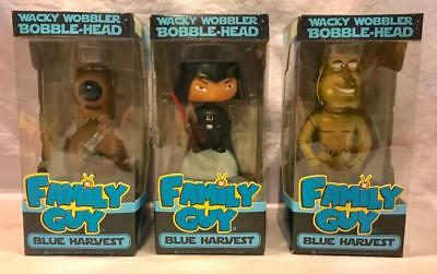 3 Limited Edition Family Guy Blue Harvest Bobble Heads Brian Stewie Quagmire