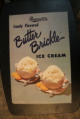 Butter Brickle Candy Ice Cream Bennett's Creamery Ottawa KS Kansas Poster Rare