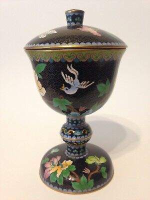 cloisonné enamel vase/serving dish and lid. with a bird,a butterfly and flowers